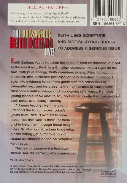 The Outrageous Keith Deltano Live! DVD