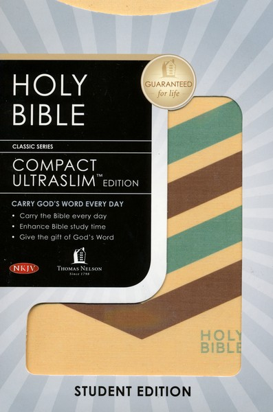 NKJV Compact Ultraslim Bible, Flexible Cloth, tan striped