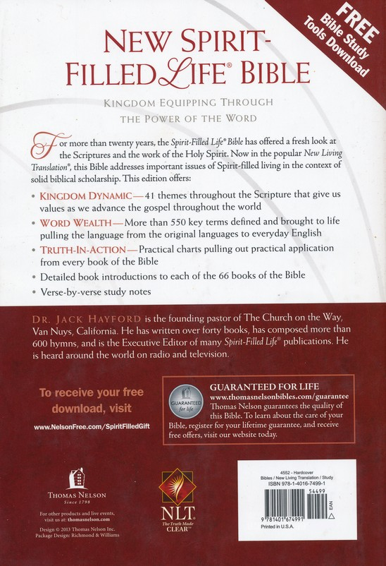 NLT New Spirit Filled Life Bible, Hardcover