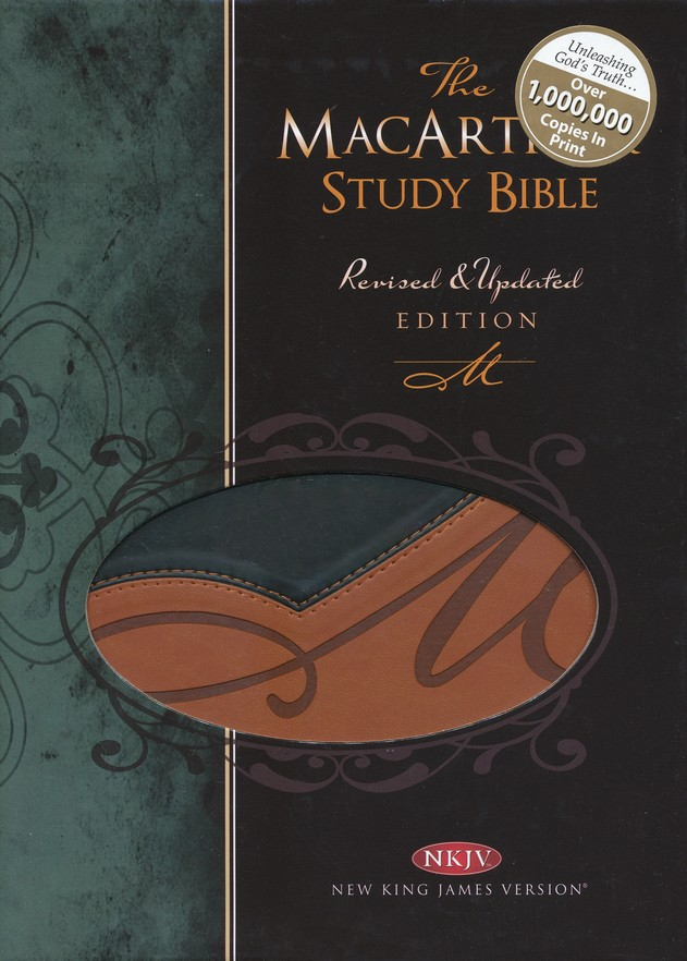 NKJV MacArthur Study Bible, Leathersoft, black/terracotta indexed