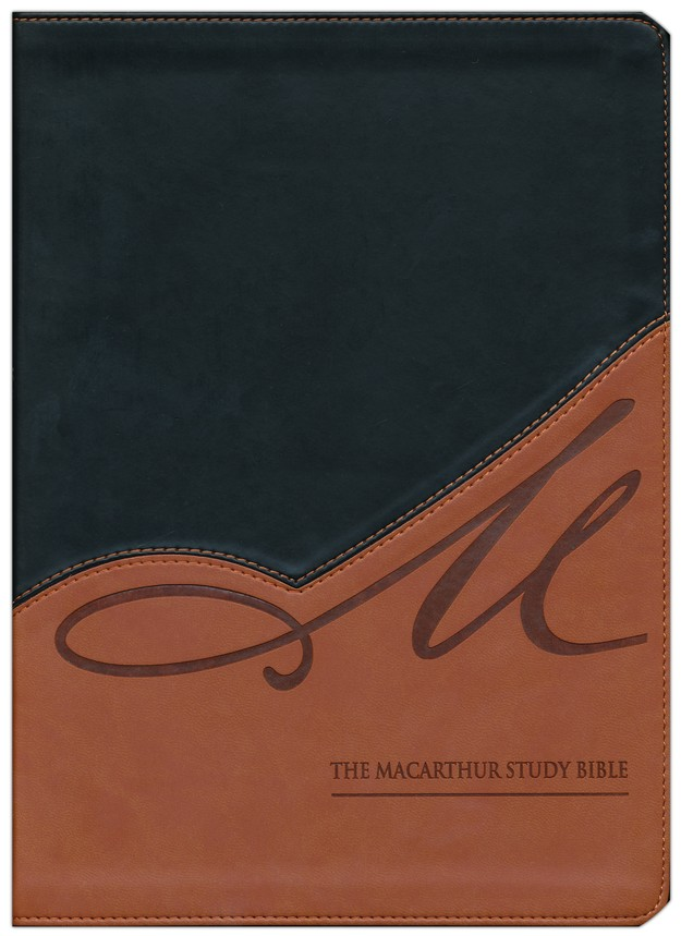 NASB MacArthur Study Bible, Leathersoft, black/terracotta indexed