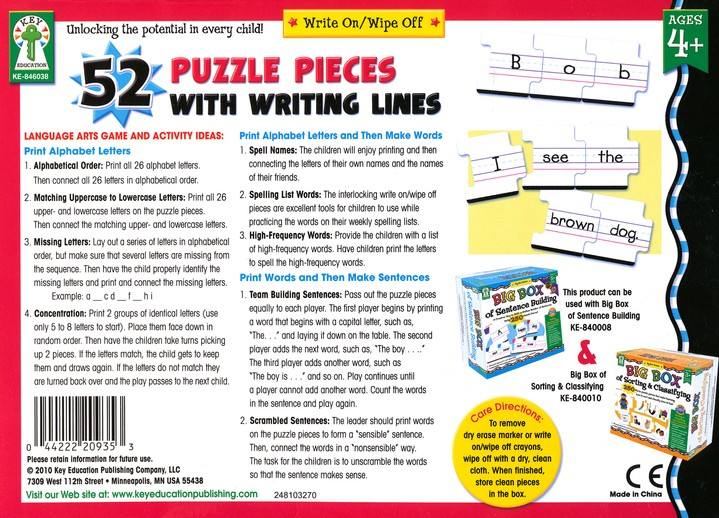 Write-on/Wipe-off: 52 Puzzle Pieces with Writing Lines
