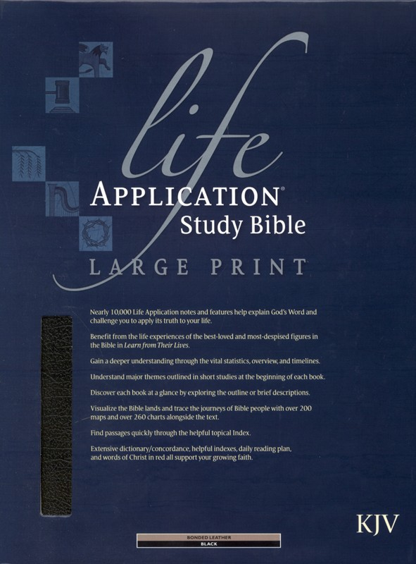 KJV Life Application Study Bible, Large Print, Bonded leather,  black, Thumb-Indexed