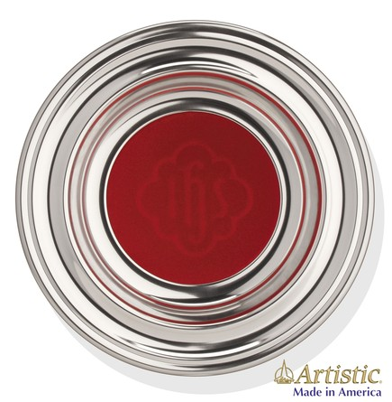 Silvertone Offering Plate with Red Pad, 12 inch diameter