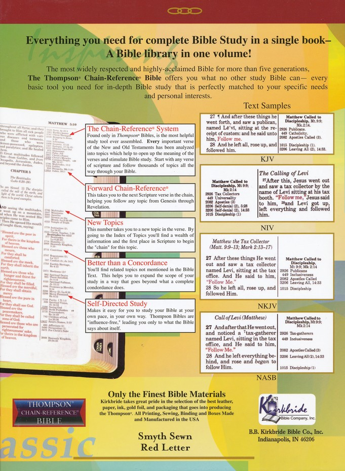 KJV Thompson Chain-Reference Bible, Large Print, Black  Genuine  Leather, Capri Grain, Thumb-Indexed