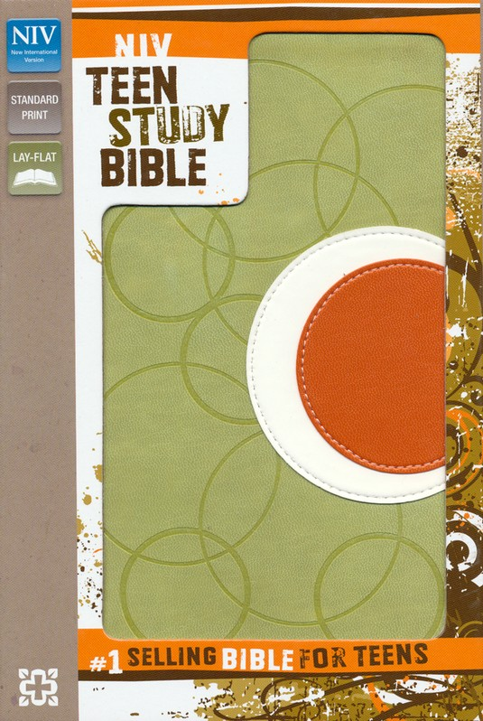 NIV Teen Study Bible, Italian Duo-Tone, Melon Green