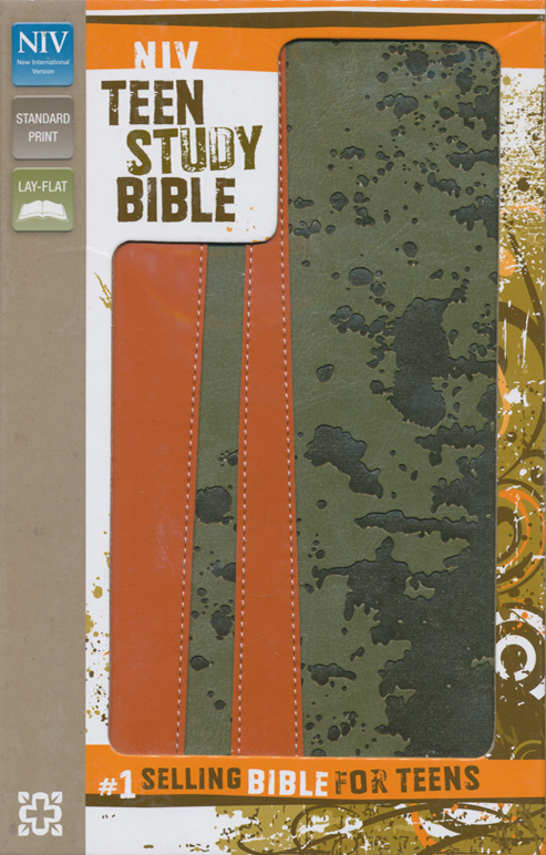 NIV Teen Study Bible, Italian Duo-Tone, Mud Splat Moss