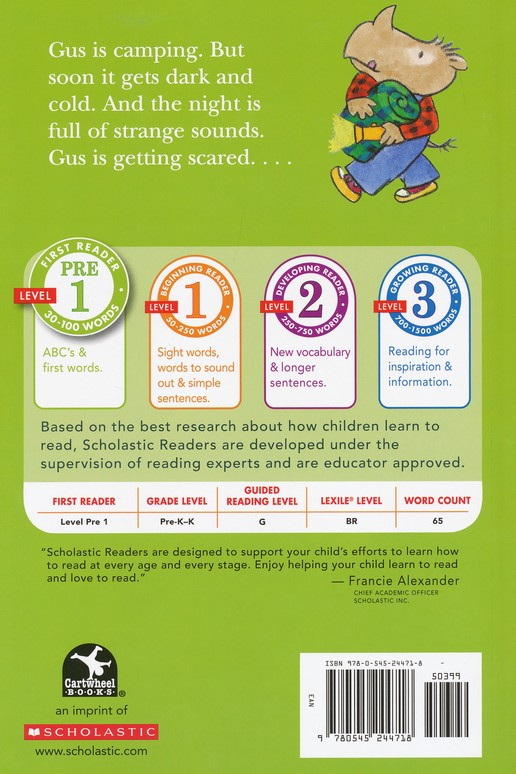 Gus Gets Scared; Level PRE 1 Scholastic Reader