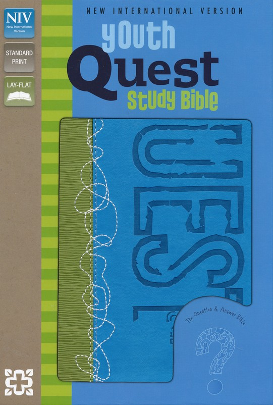 NIV Youth Quest Study Bible: The Question and Answer Bible, Italian Duo-Tone, Kiwi/Wave Blue