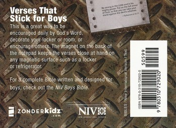 101 Verses that Stick for Boys based on the NIV Boys Bible: Bible Verses for Your Locker or Home, Sticky Notes
