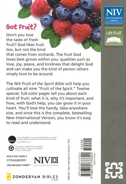 NIV, Fruit of the Spirit Bible Collection, Italian Duo-Tone, Strawberry