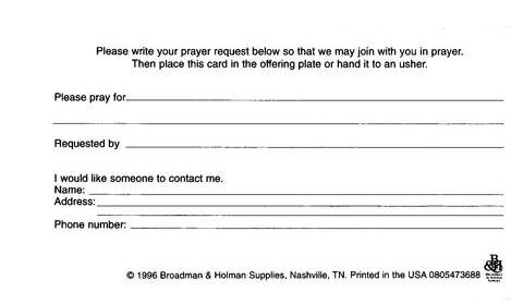 Prayer Request Pew Cards, 50