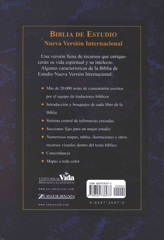 Biblia de Estudio NVI, Piel Imit. Negra  (NIV Study Bible, Imit. Leather Black)