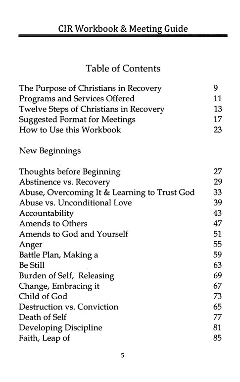 Christians in Recovery--workbook and meeting guide