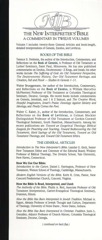 New Interpreter's Bible Volume 1: General Old Testament Articles, Genesis, Exodus, and Leviticus