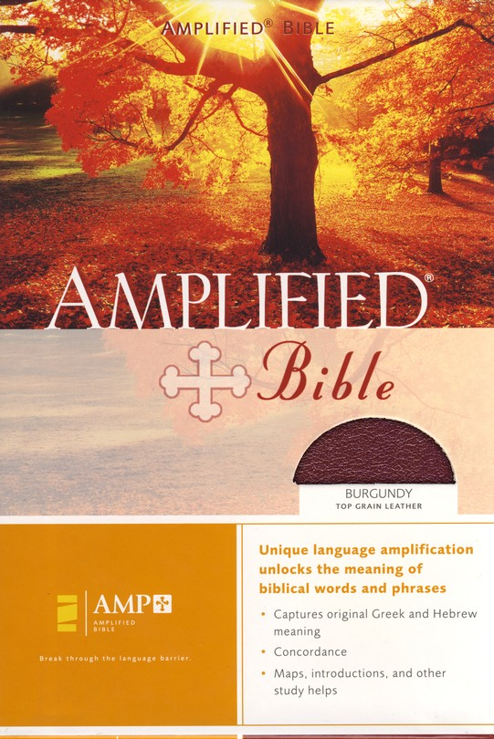 The Amplified Bible, Expanded Edition, Top-grain leather, burgundy