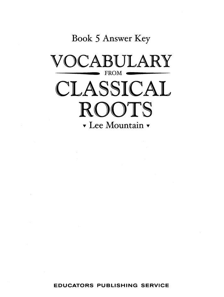 Vocabulary from the Classical Roots 5 Answer Key