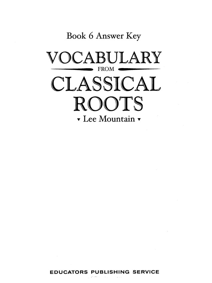 Vocabulary from the Classical Roots 6 Answer Key