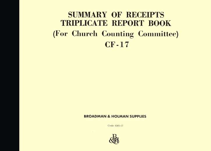 Summary of Receipts Triplicate Report Book, CF-17
