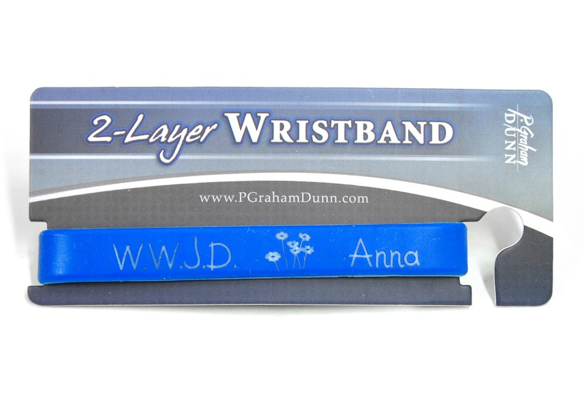 Personalized, WWJD Wristband, With Name and Flowers,  Blue