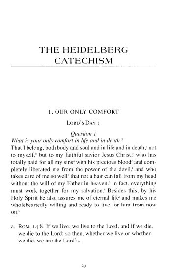 The Heidelberg Catechism, New Edition