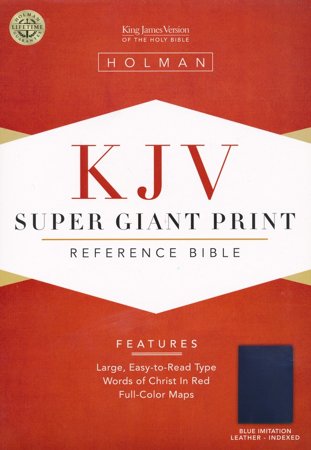 KJV Super Giant Print Reference Bible, Imitation leather, Blue,  Thumb-Indexed