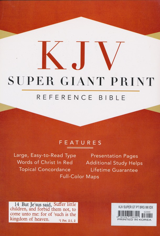 KJV Super Giant Print Reference Bible, Imitation leather,  Burgundy, Thumb-Indexed