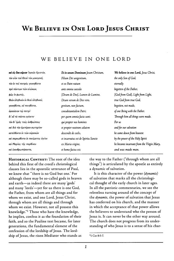 We Believe in One Lord Jesus Christ: Ancient Christian Doctrine Series [ACD]