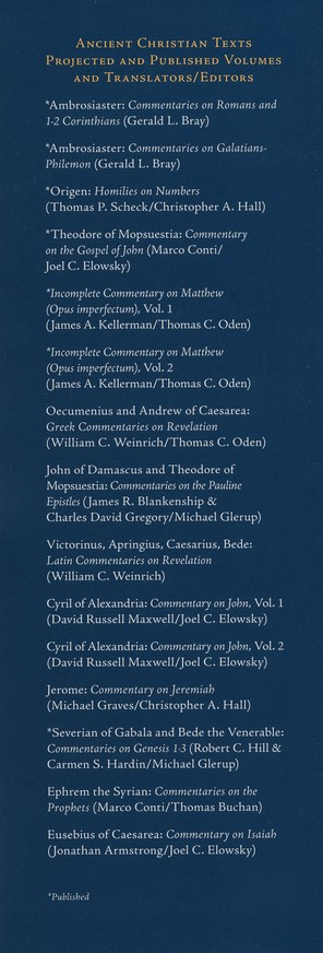Commentaries on Genesis 1-3: Ancient Christian Texts [ACT]