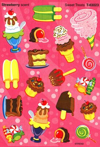 Sweet Treats (Strawberry) Mixed Shape Stinky Stickers