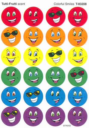 Colorful Smiles, Small Round Scratch and Sniff Stickers (Tutti-Frutti)