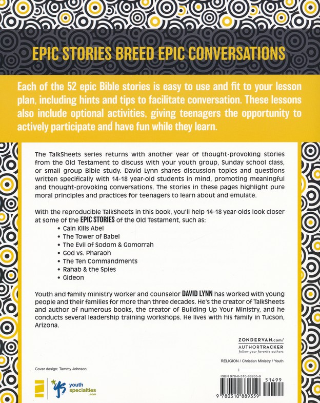 High School TalkSheets on the Old Testament, Epic Bible Stories: 52 Ready-to-Use Discussions