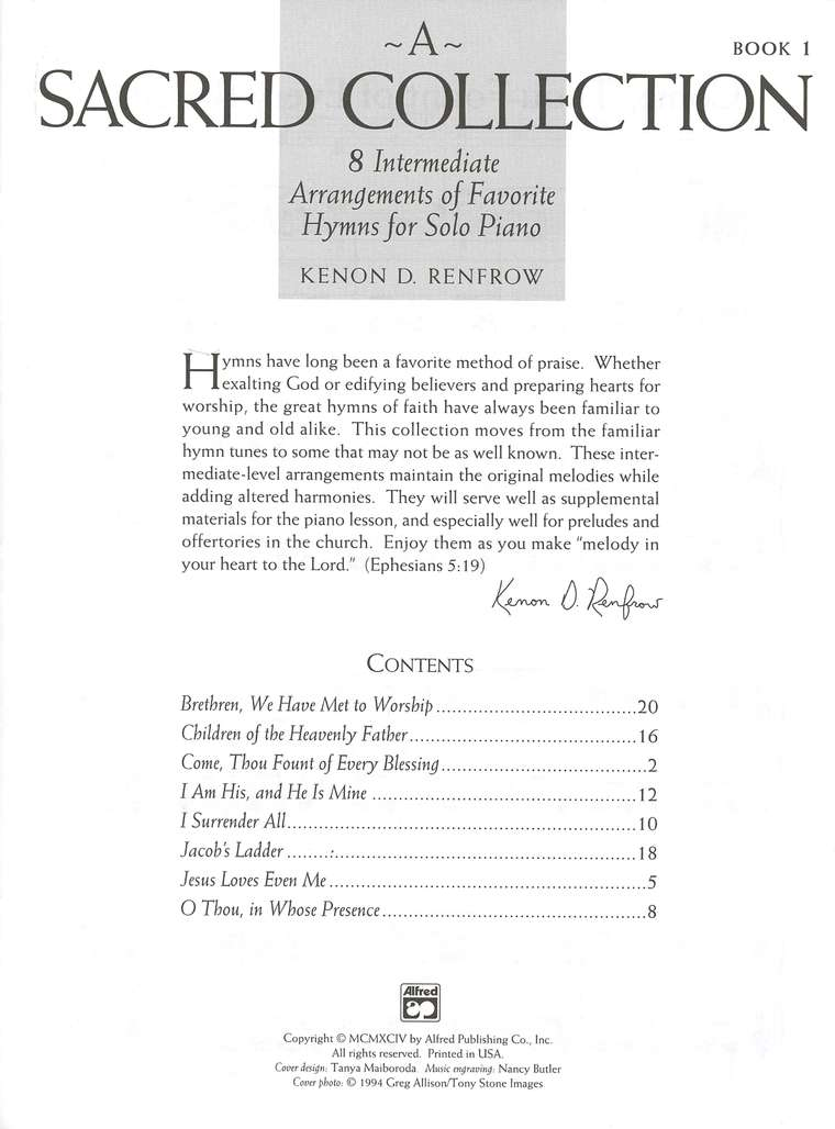A Sacred Collection: 8 Intermediate Arrangements of Favorite Hymns for Solo Piano