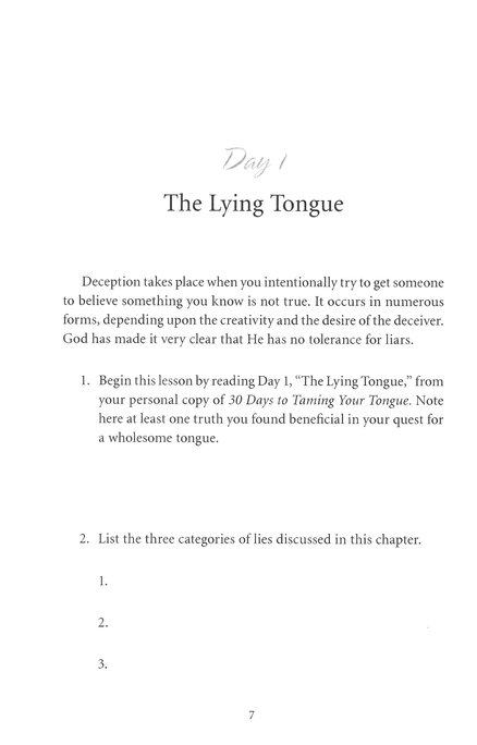 30 Days to Taming Your Tongue Workbook