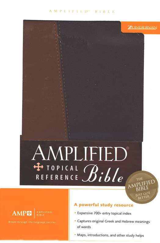 Amplified Topical Reference Bible      Tan/Burgundy Italian DuoTone Imitation Leather