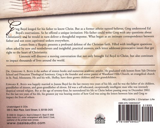 Letters From A Skeptic Audiobook on CD
