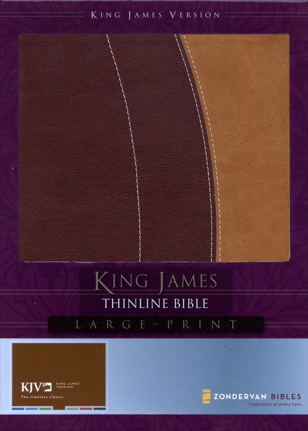 King James Version Thinline Bible, Large Print, Italian Duo-Tone &#153, Burgundy/Carmel