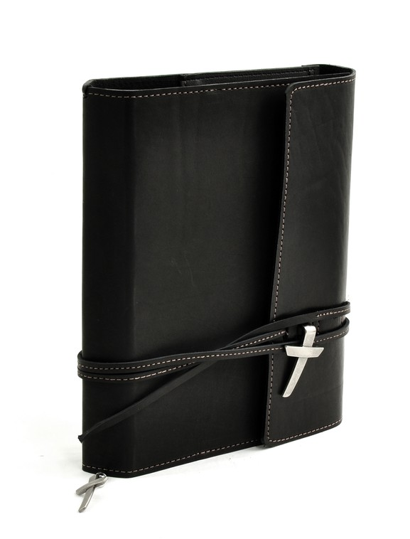 Leather Wrap Bible Cover, Black, Large