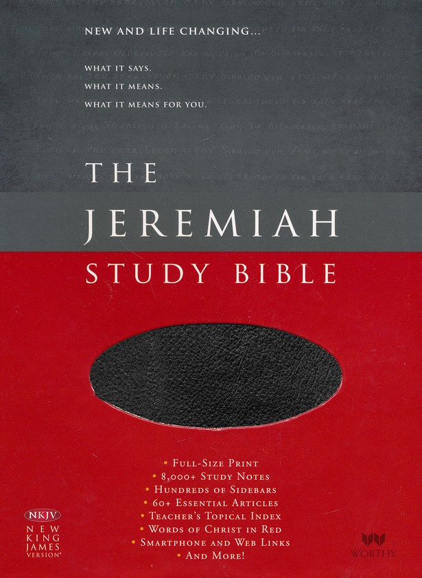 NKJV The Jeremiah Study Bible, Soft leather-look, Black (indexed)
