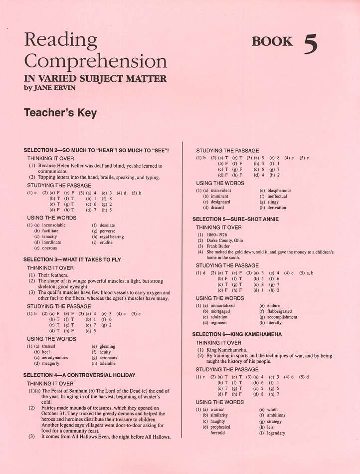 Reading Comprehension in Varied Subject Matter, Answer Key - Grade 7