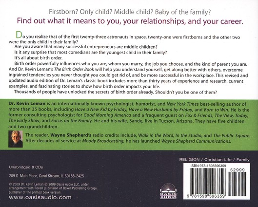 The Birth Order Book: Unabridged Audiobook on CD