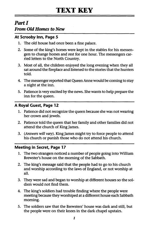 Stories of the Pilgrims, 2nd Edition, Answer Key, Grade 4