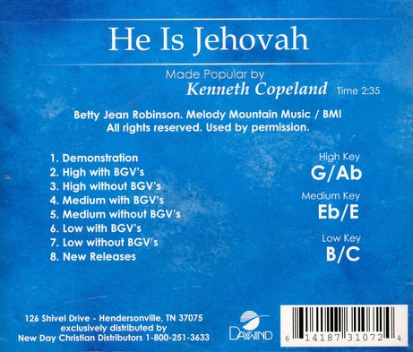He Is Jehovah, Accompaniment CD