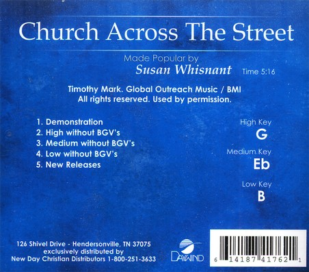 Church Across The Street, Accompaniment CD