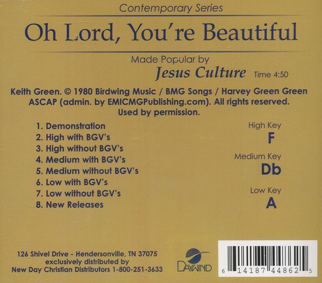 Oh Lord, You're Beautiful, Acc CD