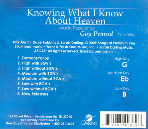 Knowing What I Know About Heaven, Acc CD
