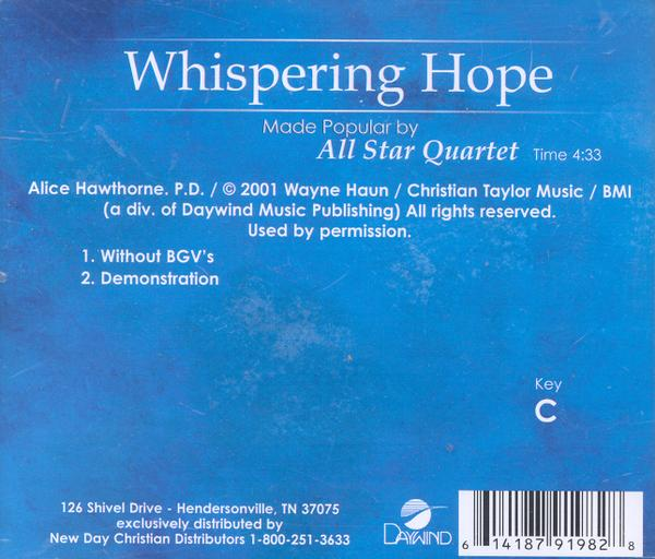 Whispering Hope, Accompaniment CD