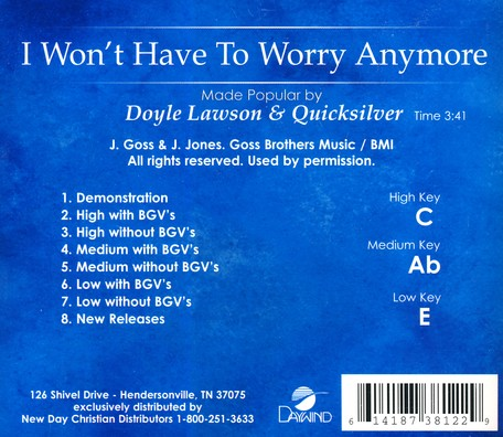 I Won't Have To Worry Anymore, Accompaniment CD