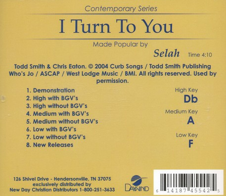 I Turn to You Acc, CD