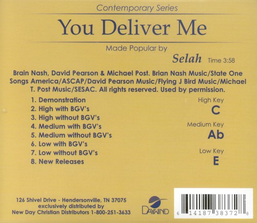 You Deliver Me, Accompaniment CD